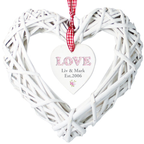 Personalised Floral Design Love Wicker Heart Decoration Gift