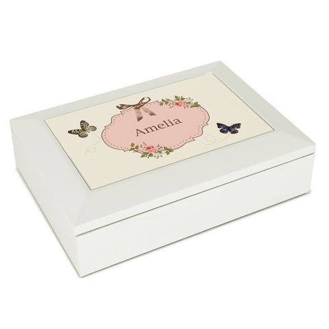 Personalised Delicate Butterfly White Jewellery Box Gift