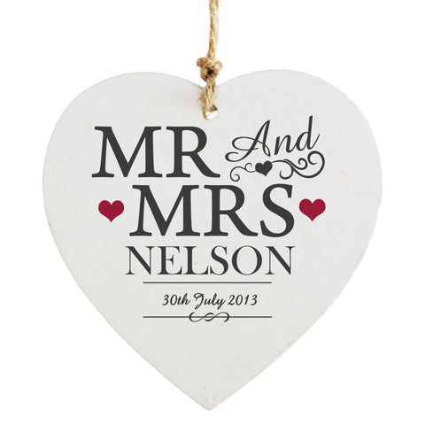 Personalised Mr and Mrs Wooden Heart Decoration Gift