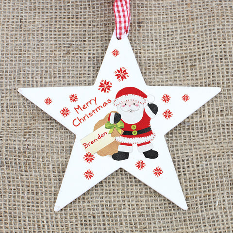 Personalised Felt Stitch Santa Wooden Star Decoration Gift