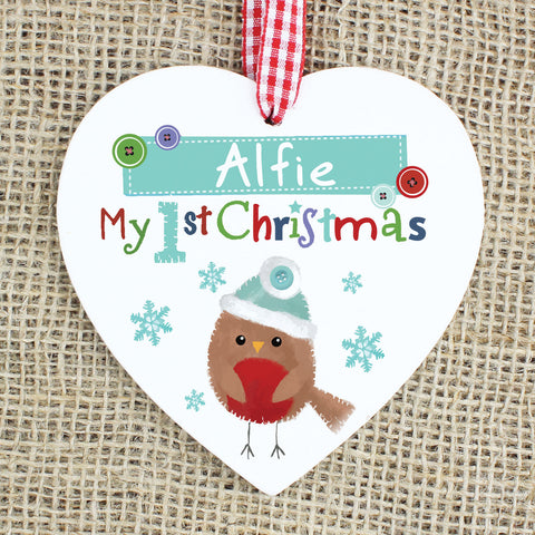 Personalised Felt Stitch Robin 'My 1st Christmas' Wooden Heart Decoration Gift