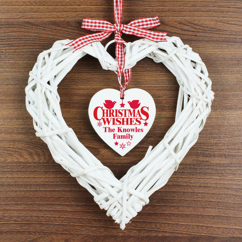 Personalised Christmas Wishes Wicker Heart Decoration Gift