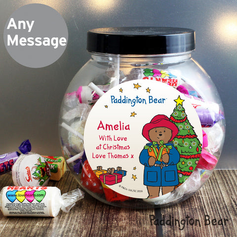 Personalised Paddington Bear Christmas Sweet Jar