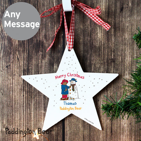 Personalised Paddington Bear Star Christmas Decoration