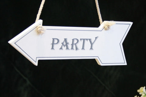 Party White Wooden Arrow Sign