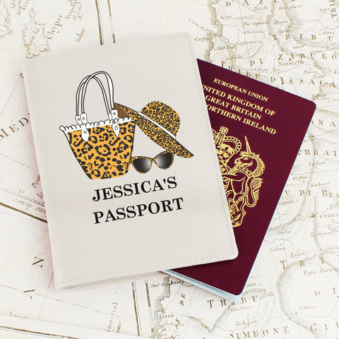 Personalised Leopard Print Passport Cover