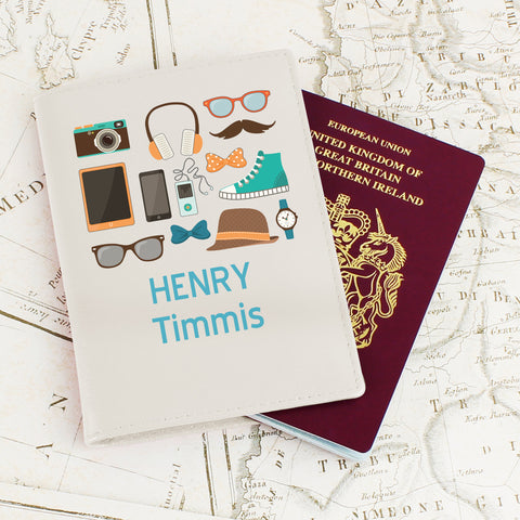 Personalised Male Essentials Passport Cover Cream
