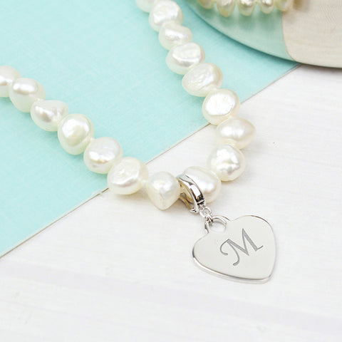 Personalised White Freshwater Initial Pearl Necklace White Present