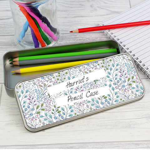 Personalised Botanical Pencil Tin with Colouring Pencils