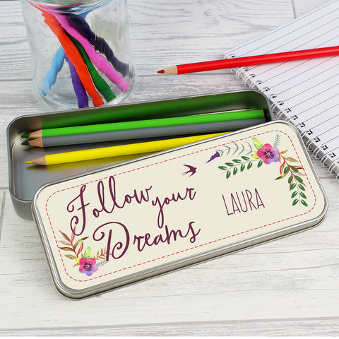 Personalised Dreams Pencil Tin with Colouring Pencils