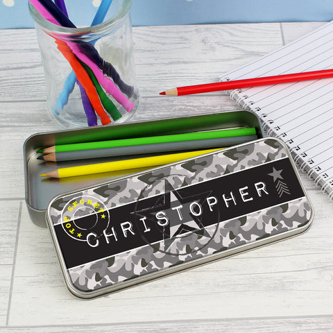 Personalised Army Camouflage Pencil Tin with Colouring Pencils