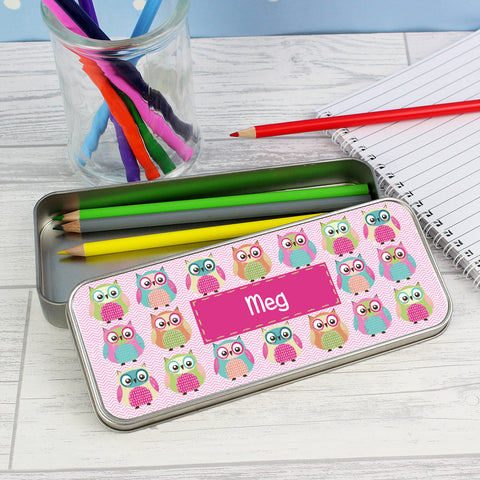 Personalised Summer Owl Pencil Tin with Colouring Pencils