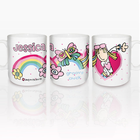 Personalised Bang on the Door Groovy Chick Rainbow Mug Gift