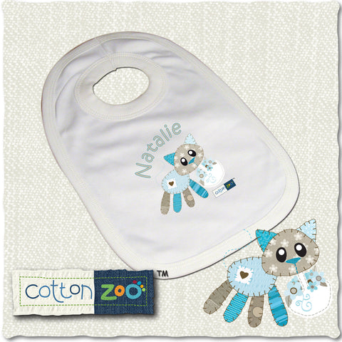 Personalised Cotton Zoo Calico The Kitten Bib Gift