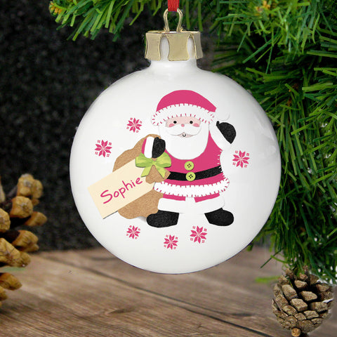 Personalised Felt Stitch Santa Bauble Present