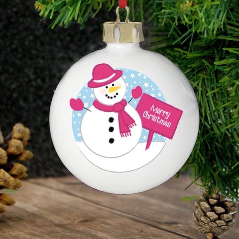 Personalised Rooftop Snowman Christmas Bauble Present
