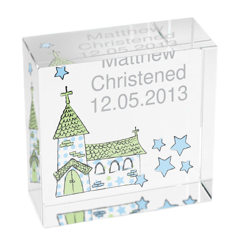 Personalised Blue Church Medium Crystal Token Gift