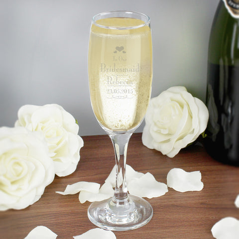 Personalised Decorative Wedding Bridesmaid Champagne Flute