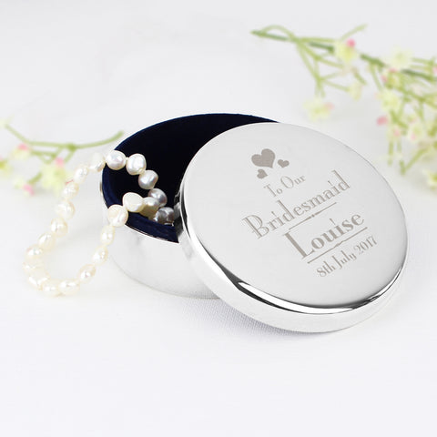 Personalised Bridesmaid Round Trinket Box Gift