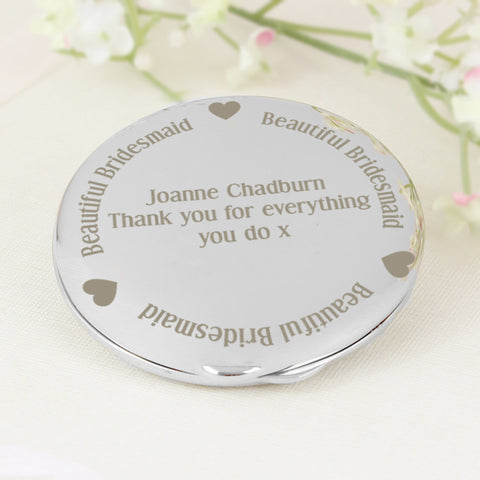 Personalised Beautiful Bridesmaid Compact Mirror Gift