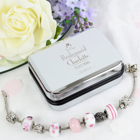Personalised Bridesmaid Silver Box and Pink Charm Bracelet Gift