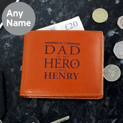 Personalised My Dad is My Hero Brown Leather Wallet
