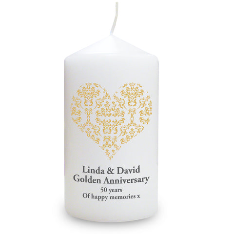 Personalised Gold Damask Heart Candle Gift
