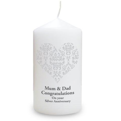 Personalised Silver Damask Heart Candle Gift
