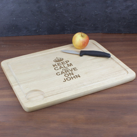 Personalised Keep Calm and Carve On Carving Board Gift