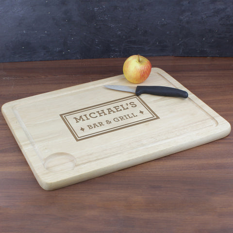 Personalised Bar and Grill Carving Board Gift
