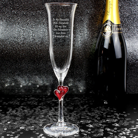 Personalised Red Heart Champagne Flute