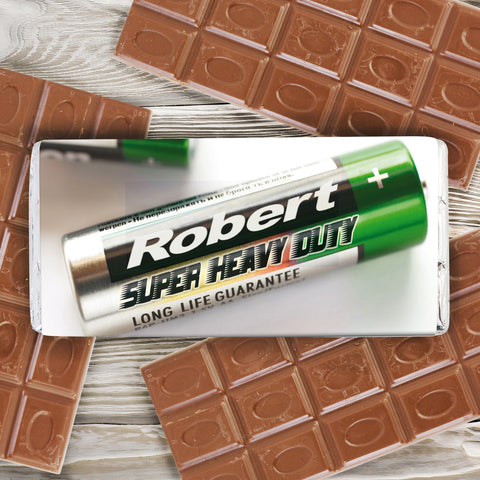 Personalised Batteries Chocolate Bar Present