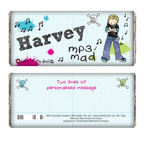 Personalised Bang on the Door MP3 Mad Chocolate Bar Gift