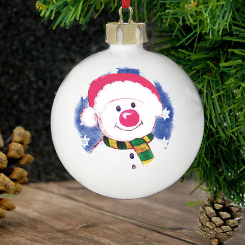 Personalised Snowman Red Nose Christmas Bauble Gift