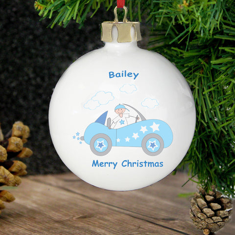 Personalised Little Monkey in Car Christmas Bauble Gift