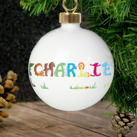 Personalised Animal Christmas Bauble Present