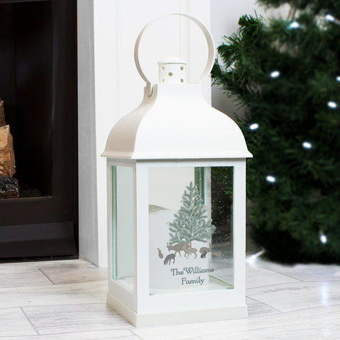 Personalised A Winters Night White Christmas Lantern