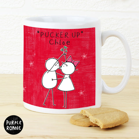 Personalised Purple Ronnie Christmas Couple Red Mug
