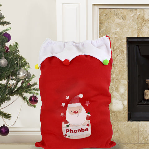 Personalised Santa Christmas Sack with Pom Poms