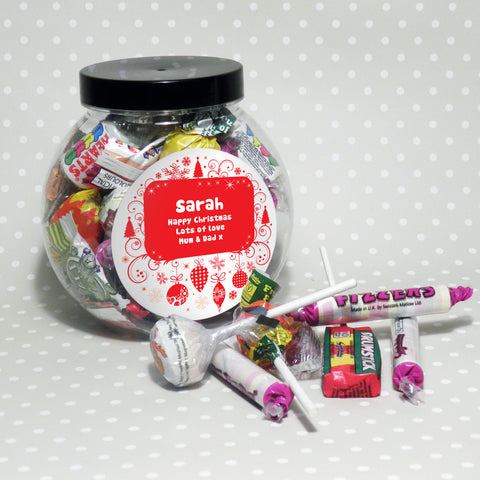 Personalised Christmas Round Sweetie Jar Gift