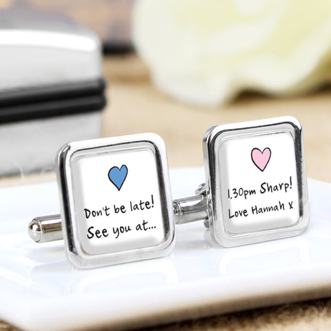 Personalised Blue and Pink Heart Cufflinks
