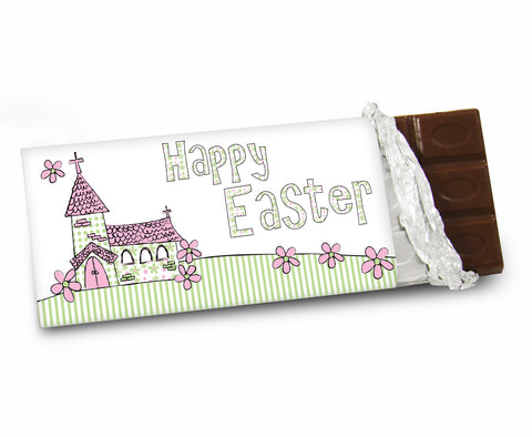 Personalised Whimsical Church Easter Chocolate Bar