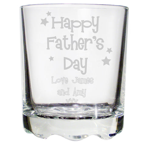 Personalised Happy Father's Day Stars Stern Whisky Glass