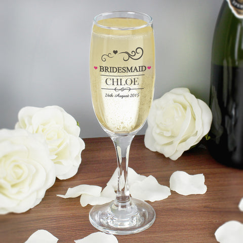 Personalised Mr and Mrs Bridesmaid Glass Champagne Flute Gift