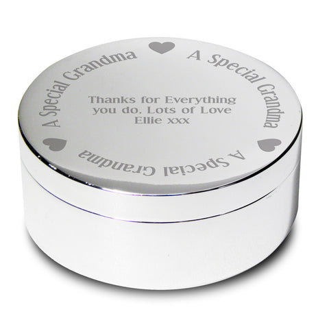 Personalised A Special Grandma Round Trinket Gift