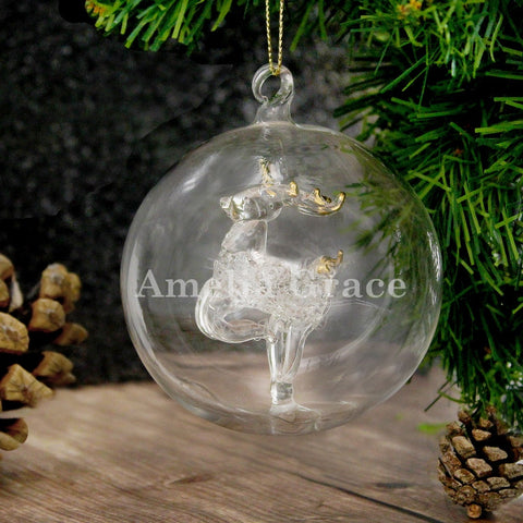 Personalised Glass Reindeer Christmas Bauble with Name