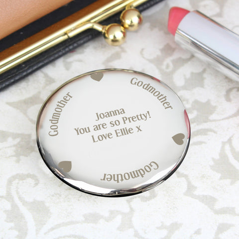 Personalised Godmother Compact Mirror Gift