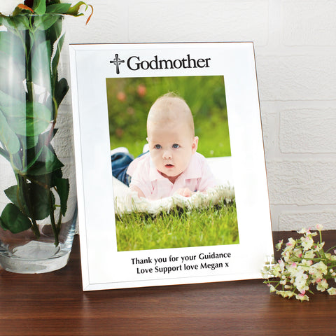 Personalised Mirrored Godmother Glass Photo Frame