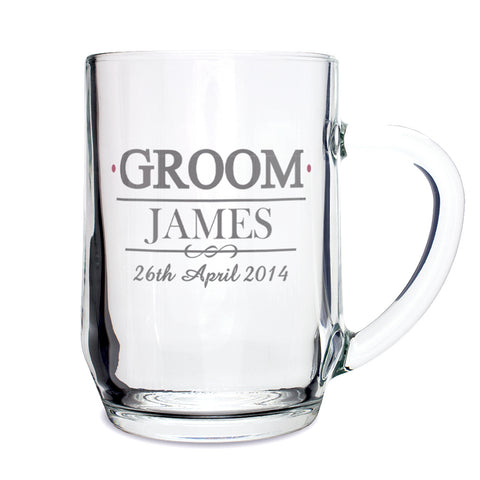 Personalised Mr and Mrs Groom Tankard Present