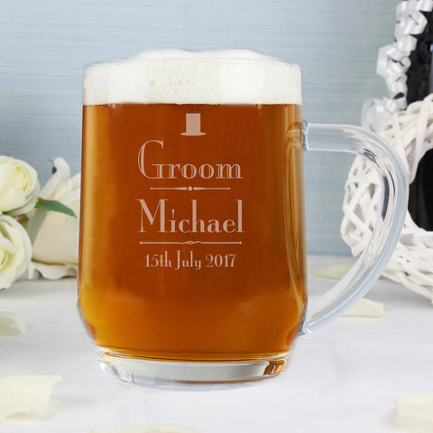Personalised Decorative Wedding Groom Tankard Gift